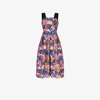 Mary Katrantzou Crystal Floral Print Midi Dress