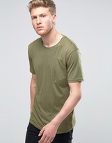 Ringspun Angled Pocket T-shirt In Khaki