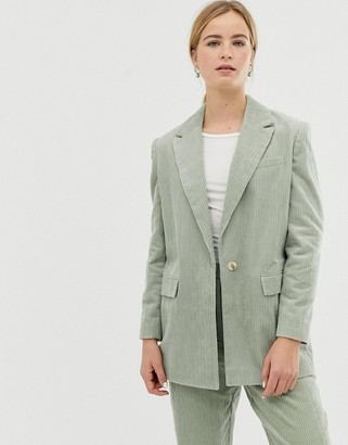 ASOS DESIGN sage cord tailored suit blazer