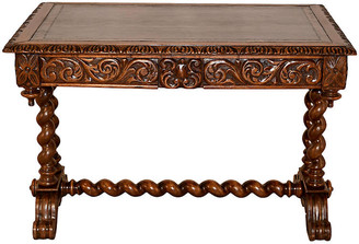 One Kings Lane Vintage 19th-C. Carved Desk with Leather Top - Black Sheep Antiques