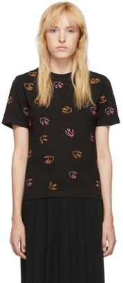 McQ Black Embroidered Swallow T-Shirt