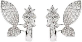 YEPREM White Gold Diamond Butterfly Earrings