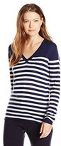 Lacoste Women's Long Sleeve Placement Stripe Wool V Neck Sweater
