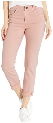KUT from the Kloth Amy Crop Straight Leg Roll Up Frey in Pink (Pink) Women's Jeans