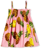 Dolce & Gabbana Sleeveless Poplin Pineapple Sundress, Pink, Size 4-6