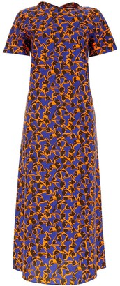 Max Mara Floral Print Short Sleeve Dress