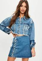 Missguided Blue Cropped Tonal Denim Trucker Jacket, Blue