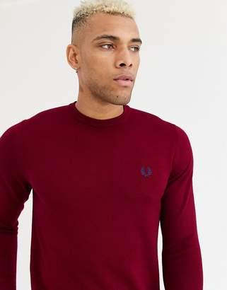 Fred Perry merino wool jumper in burgundy