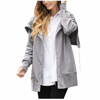Linkay Fashion Women Solid Long Sleeve Hoodie Coat Button Tops Blouse Sweatshirt Coat Gray XL
