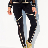 Luli Fama Warrior Spirit Gold Trimmed Legging In Black gold (F502B09)