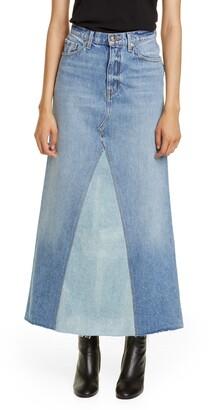 KHAITE Magdalena Reconstructed Denim Midi Skirt