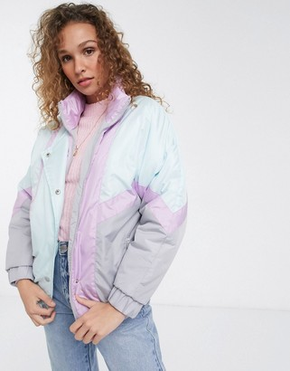 Brave Soul cascada ski jacket in pastel mix