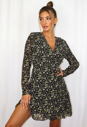Missguided Floral Ruffle Wrap Tea Dress