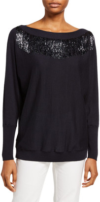 Lafayette 148 New York Bead Embellished Luxurious Cashmere-Blend Dolman Sweater