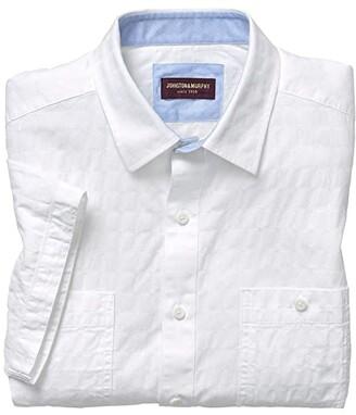 Johnston & Murphy Short Sleeve Raised Tonal Square (White) Men's Clothing