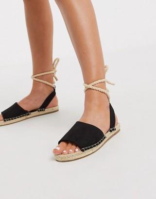ASOS DESIGN June rope tie espadrilles sandals in black
