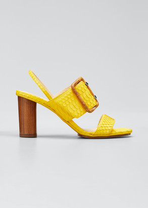 Rodo 80mm Wood-Heel Slingback Sandals with Buckle