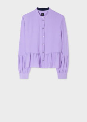 Paul Smith Women's Lilac Band Collar Silk-Blend Shirt With Peplum