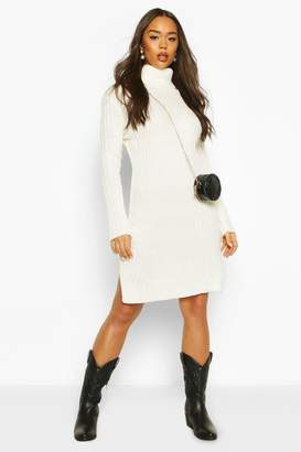 boohoo Knitted Polo Neck Side Slit Midi Dress