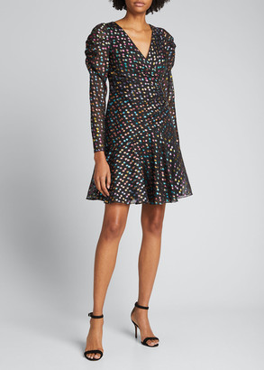 Marchesa Notte Metallic Polka Dot Puff-Sleeve Dress