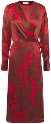 Equipment Floral-print Silk-charmeuse Wrap Dress