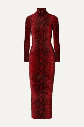 Alexander Wang Snake-print Chenille Turtleneck Midi Dress - Red