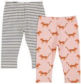 John Lewis Leopard Leggings, Pack of 2, Charcoal/Pink
