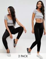 Asos 2 Pack High Waisted Leggings In Black