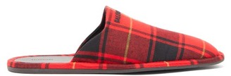 Balenciaga Logo-embroidered Tartan Flannel Slippers - Mens - Red