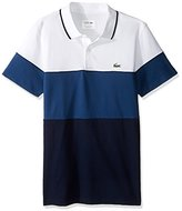 Lacoste Men's Golf Color Block Stripe Ultradry Pique Knit