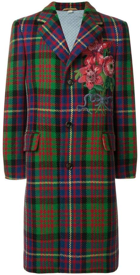 Gucci floral embroidered checked coat