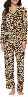 Couture Pj Soft And Comfy Notch Womens Pant Pajama Set 2-pc. Long Sleeve