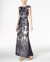 Vince Camuto Sequined Embroidered Open-Back Gown