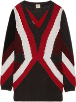 Tod's Merino Wool And Cashmere-blend Intarsia Sweater - Black