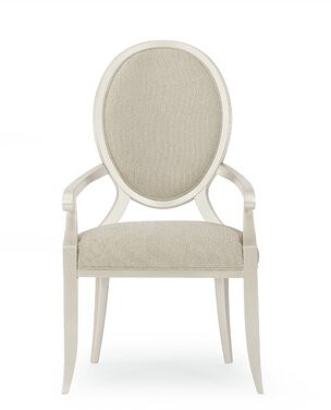 Avondale Brushed Tweed Round Back Upholstered Dining Chair with Arms (Set of 2) Caracole Compositions