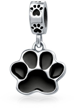 Bling Jewelry Black Dog Cat Puppy Kitten Paw Print BFF Pet Lover Charm Bead Silver