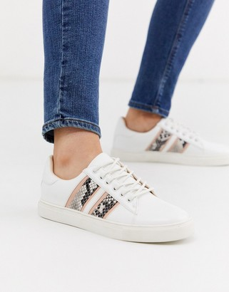 Miss Selfridge trainers with snake print side stripe in white