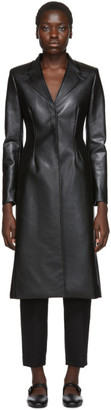 Coperni Black Faux-Leather Tailored Coat