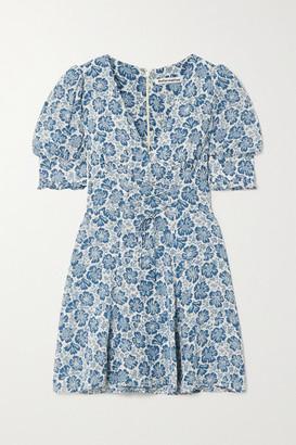 Reformation Steph Lace-up Floral-print Georgette Mini Dress - Light blue