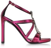 Roberto Cavalli Tassel Raspberry Metallic Leather Sandal