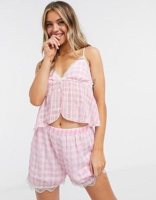 ASOS DESIGN gingham chiffon cami & short pyjama set in pink