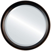 The Oval And Round Mirror Store Huntington Framed Round Mirror, Rubbed Bronze, 26x26