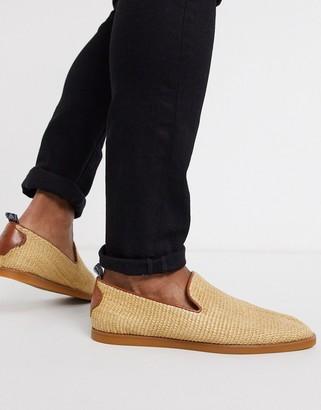 H By Hudson parker raffia slip on loafers in beige