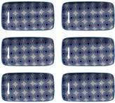 Torre & Tagus Kiri Rectangular Porcelain Pinwheel Tapas Plates (Set of 6)