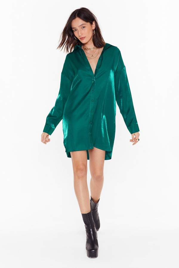 Nasty Gal Womens Time to Shimmy Shimmy Oversized Shirt Dress - green - 4