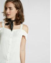 Express cold shoulder button front blouse