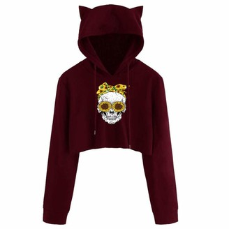 kolila 2020 Newest Teen Girls Cute Cat Ear Sweatshirt Crop Top for Womens Hoodies Long Sleeve Hooded Pullover(001Wine S)
