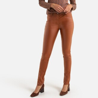 Anne Weyburn Straight Faux Leather Trousers, Length 30.5""