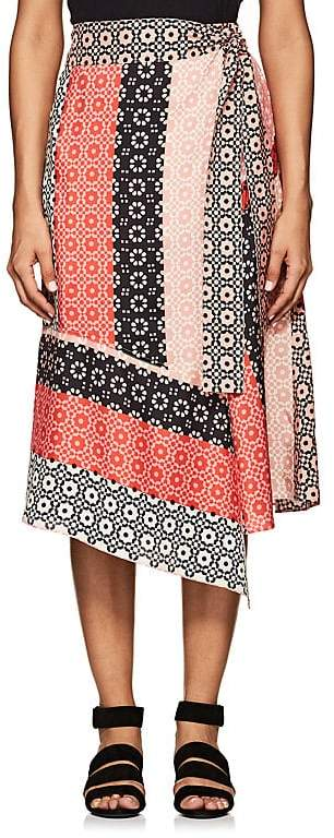 Derek Lam 10 Crosby Women's Geometric-Print Silk Asymmetric Wrap Skirt