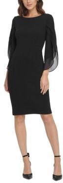 DKNY Sheath with 3/4 Chiffon Sleeves